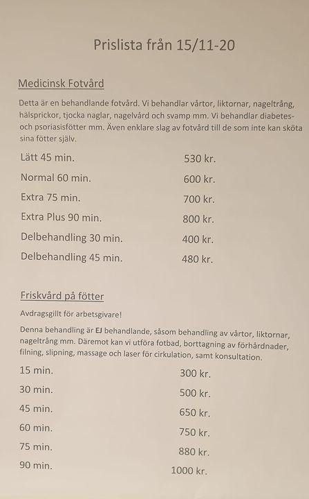 Fotvård Sundsvall Pris